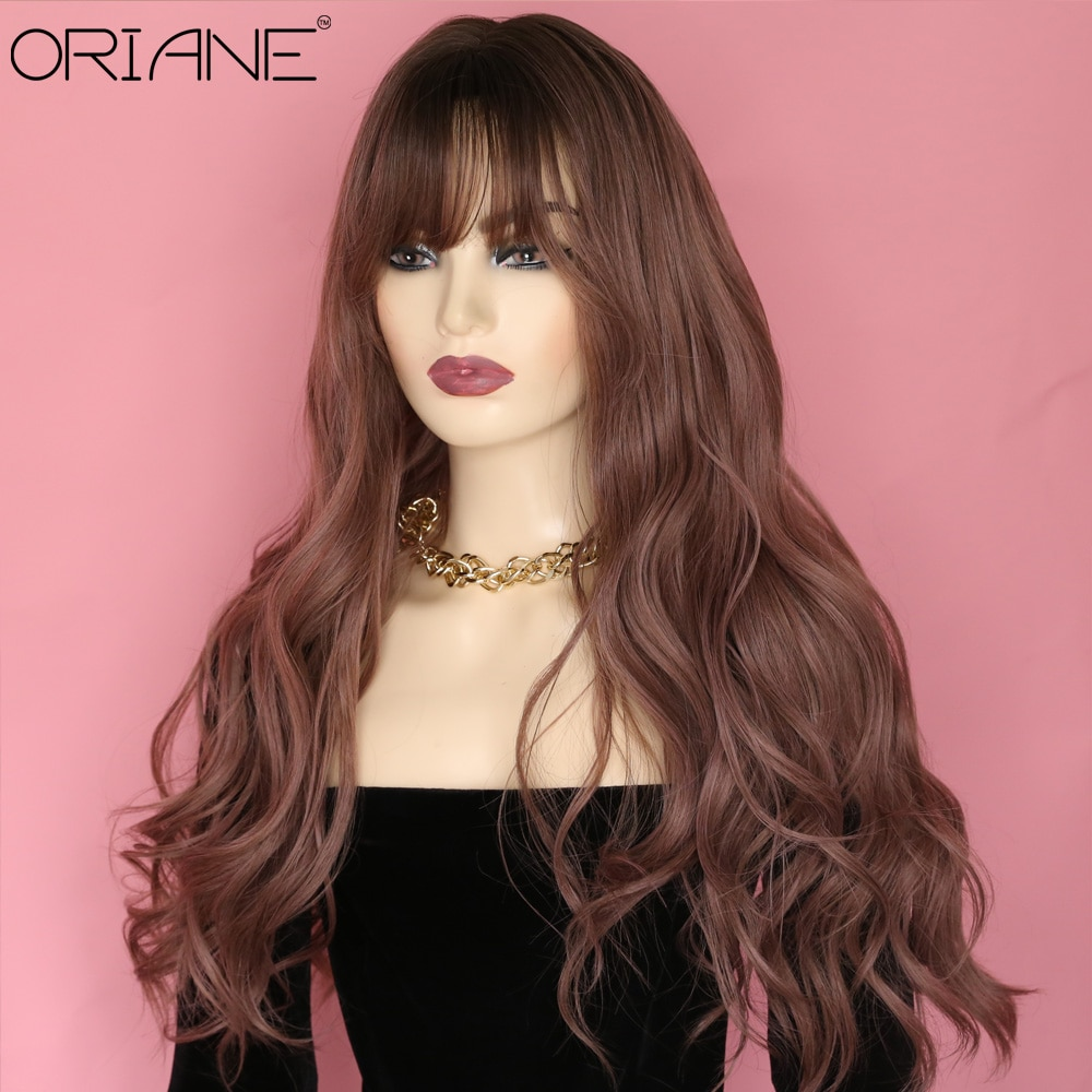 ORIANE Long Wavy Synthetic Wigs For Women With Bangs For Women Pink Brown Hair Star Hairstyle Party Cosplay Wig ebingoo sugar sugar rune sangona manier double ponytail brown long straight synthetic cosplay wig with bangs for women