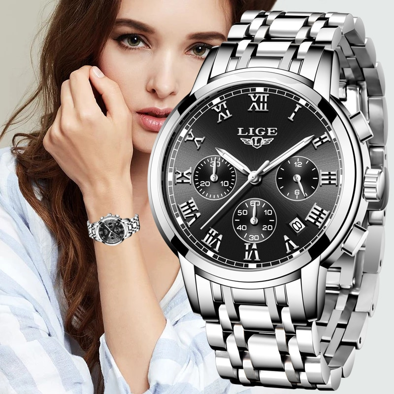 LIGE Watch Women Watches Top Brand Luxury Set Waterproof Quartz Watch Women Ladies Watch Gifts Clock
