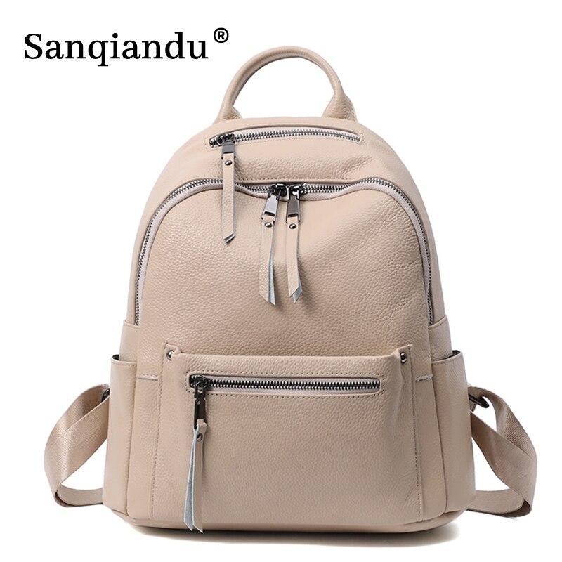 حقائب النساء 100% لينة جلد طبيعي حقيبة كتب الإناث موضة حقائب مدرسية حقيبة كتف عادية السفر السيدات على ظهره Mochilas