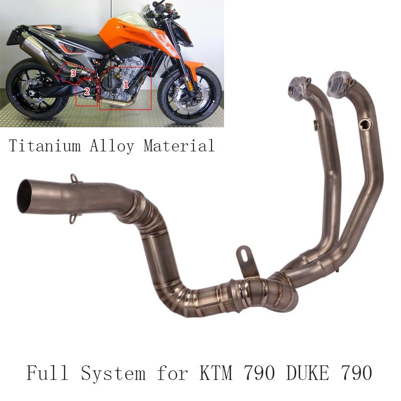 Tubo de conexión de cabeza del sistema de escape completo de la motocicleta tubo de escape de aleación de titanio Slip on DUKE 790 Moto para KTM 790 DUKE 790