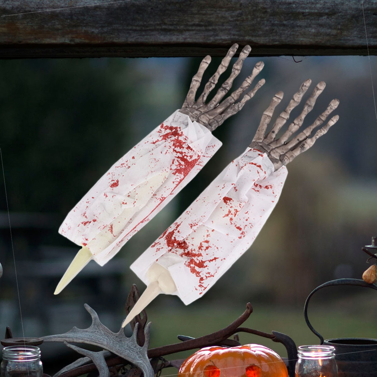 1 Pair Realistic Bloody Hands Fake Creepy Arms Horror Decorations Props Prank for Club Pub Haunted House (Grey Hands)