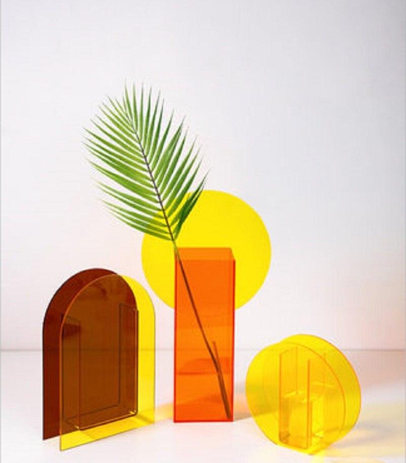 O.RoseLif nuevos jarrones acrílicos creativos magia geometría terrario jarrón de flores hidropónicas Hotel boda Oficina decoración del hogar