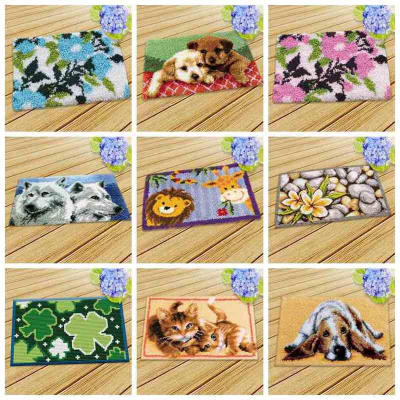 Prajna Latch Hook Cushion Animals Carpet Embroidery Needlework Crochet Pillows Accessories DIY Latch Hook Rug Kit Cross Stitch
