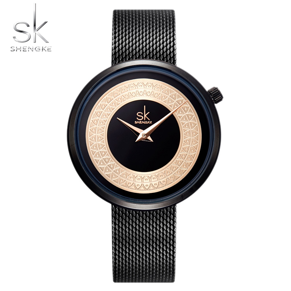 Shengke Top Brand Luxury Female Watches Dresses Fashion For Women Stainless Steel Clock Rose Gold Quartz Watch Montre Femme enlarge