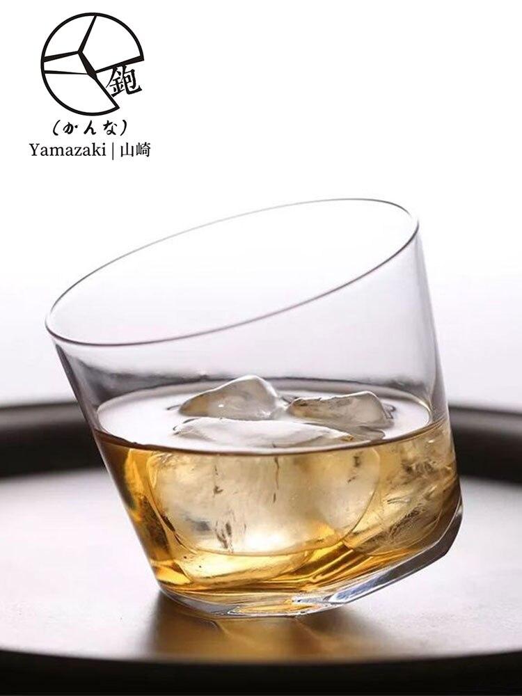 Japón YAMAZAKURA Arte Creativo diseño avión Whisky Copa Edo Kiriko Irregular Askew Bottom XO rojo vino Whisky Rock Glass caja de regalo