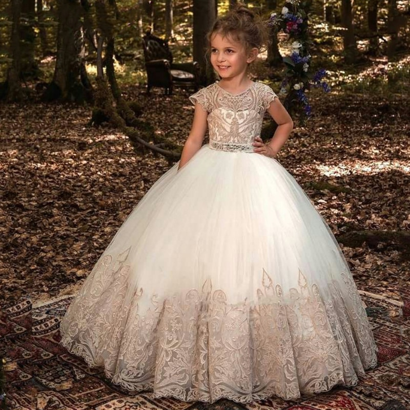 2021 Formal Bridesmaid Dress Kids Clothes For Girls Children Retro Lace Princess Dress Girl Party And Wedding Costume Vestidos