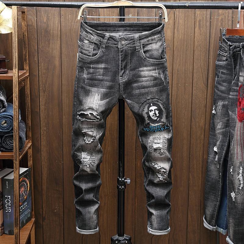 Джинсы мужские зауженные, брюки из денима, прямые черные байкерские зауженные рваные штаны Spijkerbroeken Heren в стиле хип-хоп