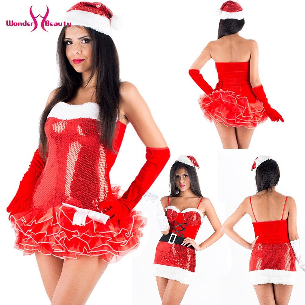 Sexy lantejoulas trajes de natal feminino natal papai noel vestido extravagante espaguete cinta lantejoulas mini vestido com luvas chapéu de natal