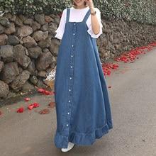 Denim Blue Overalls Dress ZANZEA 2020 Womens Sundress Stylish Casual Button Summer Flounce Midi Vestidos Female Robe Plus Size