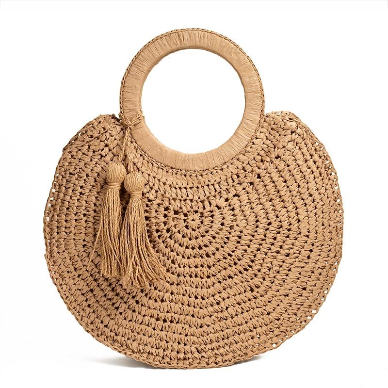 Fashion fringed straw bag tassel round hand beach woven bag casual women totes