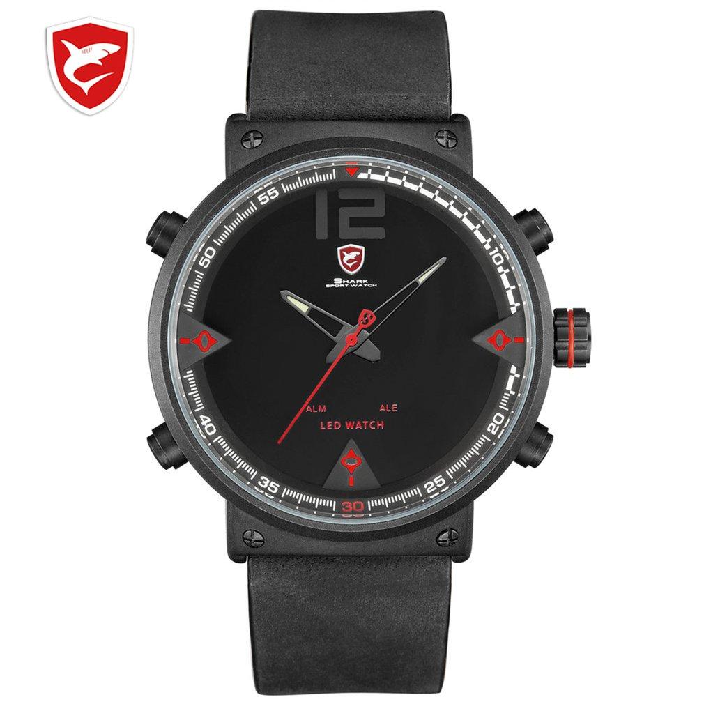 latest Shark Sport Watch White Outdoor Hiking Men Digital Date LCD Electronic Quartz Steel Band Watchs Chronograph Clock DESH112