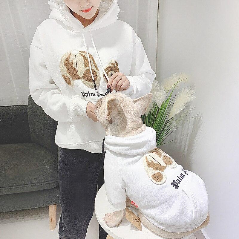 Fadouying short kitten fleece cotton padded coat in autumn and winter plus plush dog two legged coat pet parent-child dogclothes