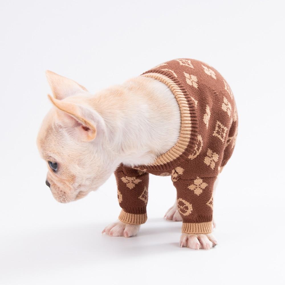 Luxury Brand Winter Dog Cat Fashion Sweaters Clothes Coat Pet Cardigan Turtleneck Cartoon Costum French Bulldog Vest Jacket