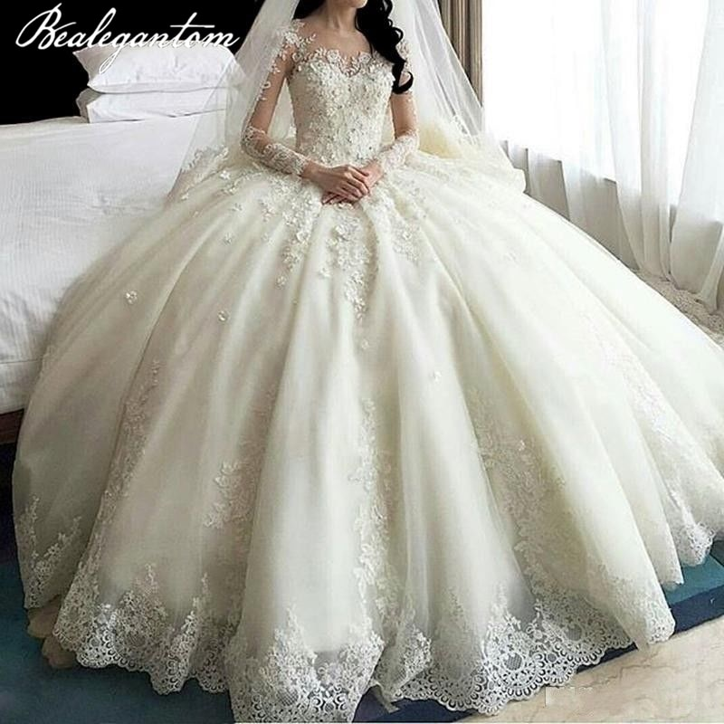 Bealegantom White Lace Long Sleeves Ball Gown Wedding Dresses 2021 Beaded Appliques Bride Gowns Robe De Mariage In Stock недорого