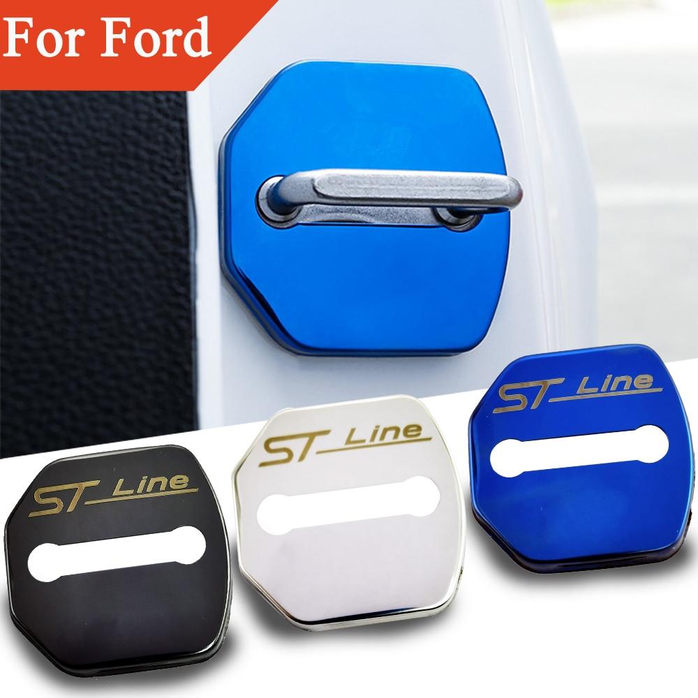 Flyj 4 pçs fechadura da porta do carro adesivo capa proteger fivela capa trava parar anti ferrugem acessórios do carro para ford edge foco stline