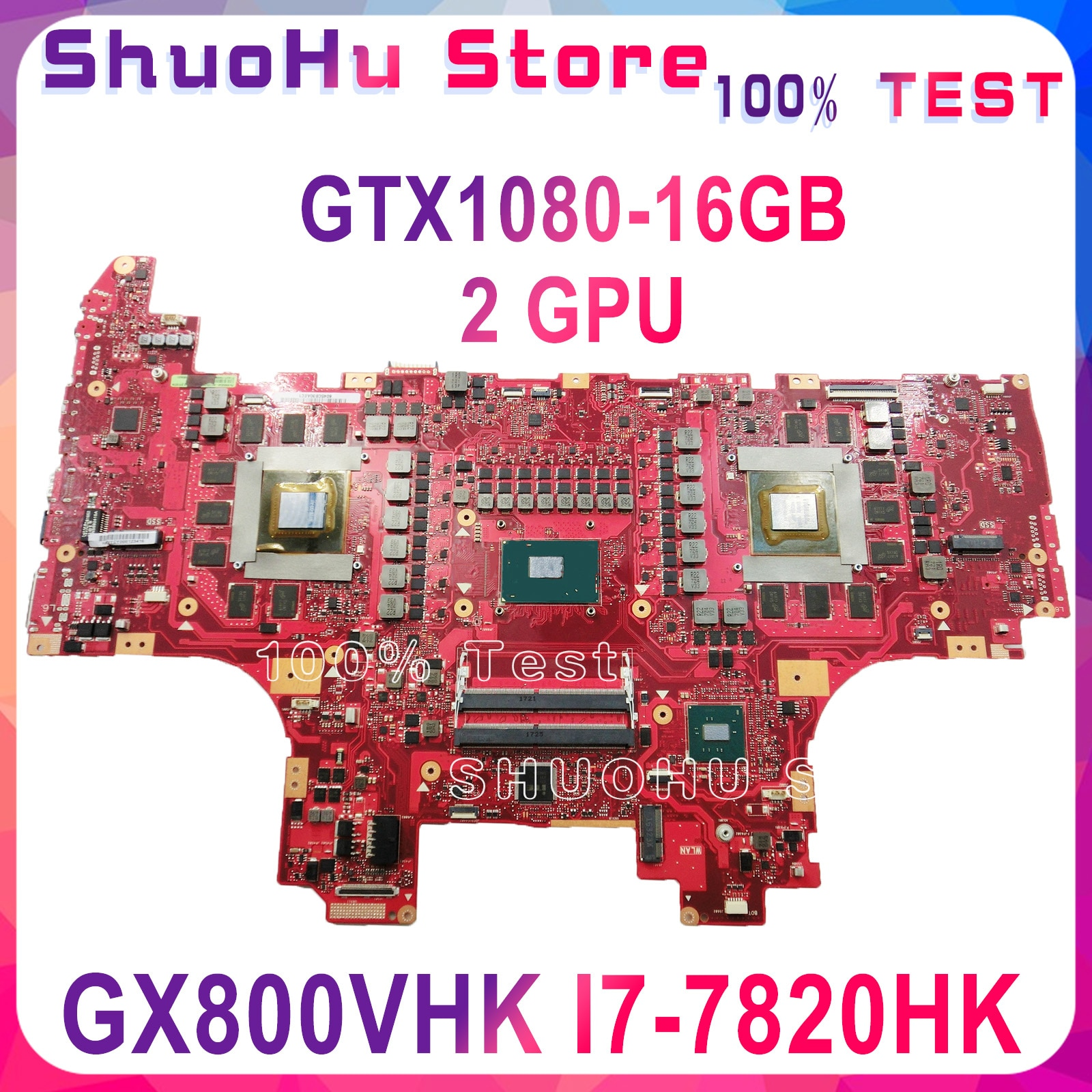 KEFU GX800VHK اللوحة الأم I7-7820HK وحدة المعالجة المركزية GTX1080 16GB بطاقة الفيديو لأسوس ROG GX800 GX800VH GX800VHK اللوحة الرئيسية للكمبيوتر المحمول اختبار 100%