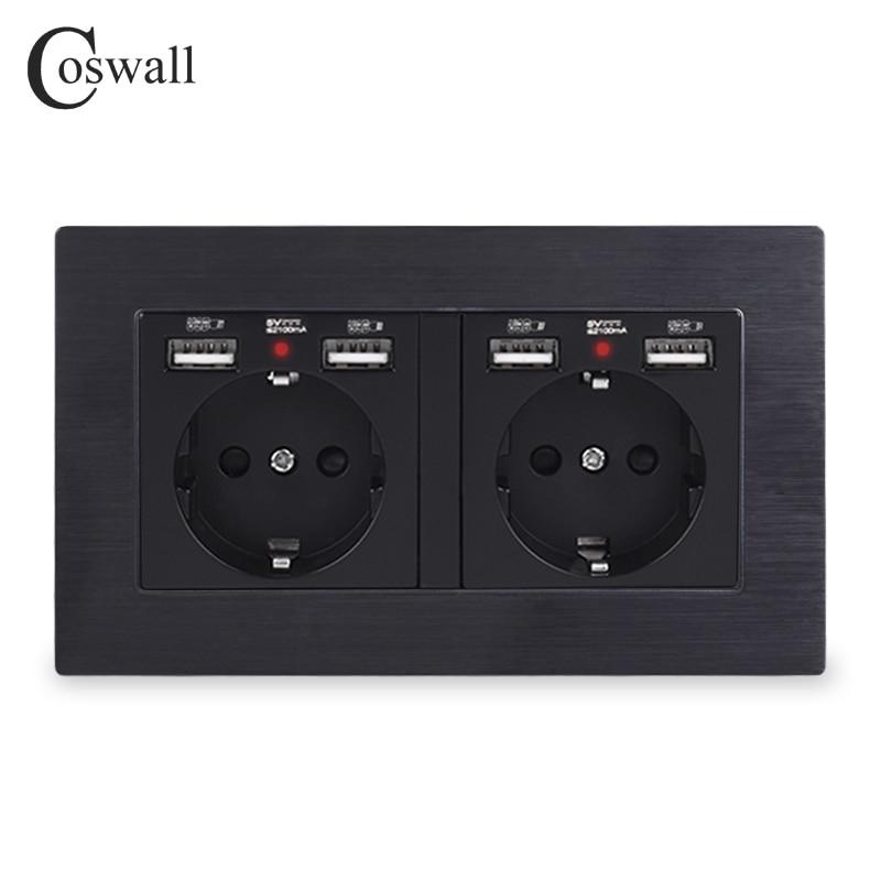 COSWALL العلامة التجارية 2 عصابة روسيا اسبانيا الاتحاد الأوروبي القياسية مقبس الحائط مع 4 منفذ شحن USB خفية لينة LED مؤشر الألومنيوم الإطار المعدني