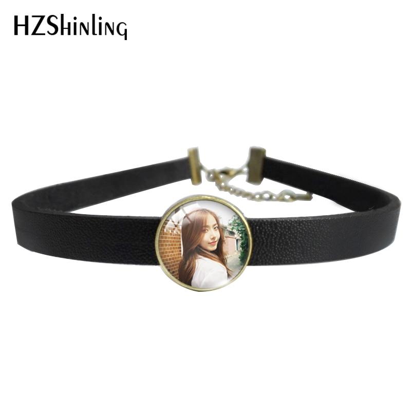 HZSHINLING, Kpop, grupo femenino Gfriend SinB, los mejores regalos, Gargantilla de cuero, collar con colgantes de cristal, collar y pulsera, joyería