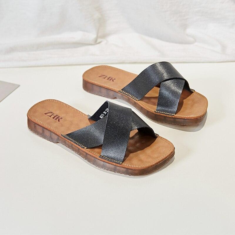 Genuine Leather Silde Sandals Women Summer Fats Slippers Woman Soft Cross Luxury Design Flat Sandals Ladies Womens Slippers