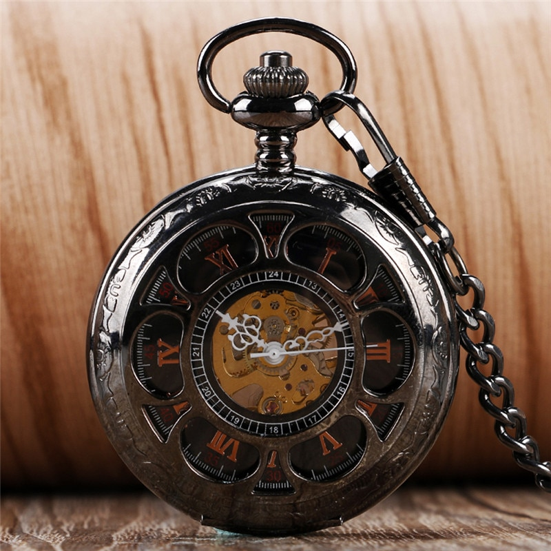 Classical Full Black Pocket Watch Hollow Out Case Unisex Handwind Mechanical Pocket Watch with Pendant Chain Rero Skeleton Clock
