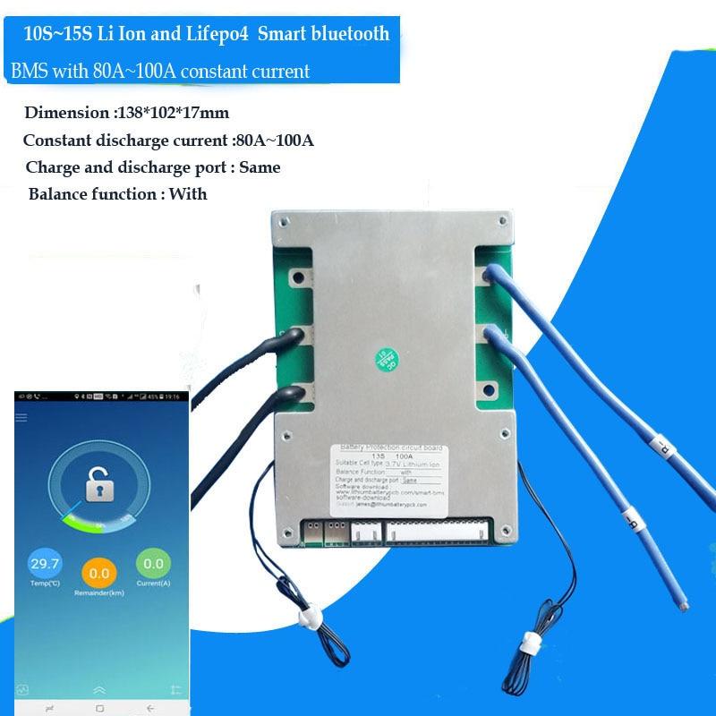 بلوتوث الذكية BMS مع 100A تيار مستمر مناسبة ل 10S 36 فولت 11S 12S 13S 48 فولت 14S 15S بطارية ليثيوم أيون مع البرمجيات
