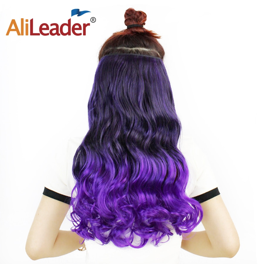 Alileader Favourite 5Clips In Hair Long Wave Clip In Hair Extension Synthetic Hair Extensions Ombre Hairpiece Fake Hairpieces clip in soft wave hair extension 1pc