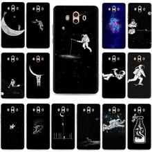 Space Astronaut Skate Moon Hard Plastic Phone Case for Huawei Y6 Y7 Prime Y9 2017 2018 Mate 10 20 30 Pro Lite Nova 2i Lite 3 3i