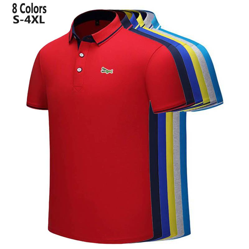 S-4XL New Design 2020 Summer Mens Short Sleeve Polos Shirts Embroidery Logo Casual Cotton Polos Homme Male Clothes Lapel Tops