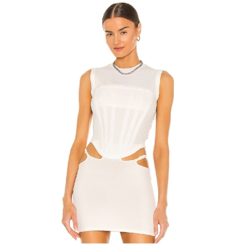 2021NEW Summer wears an irregular corset top with hook-and-eye buckles at the waist and a curved fishbone rib sleeveless vest