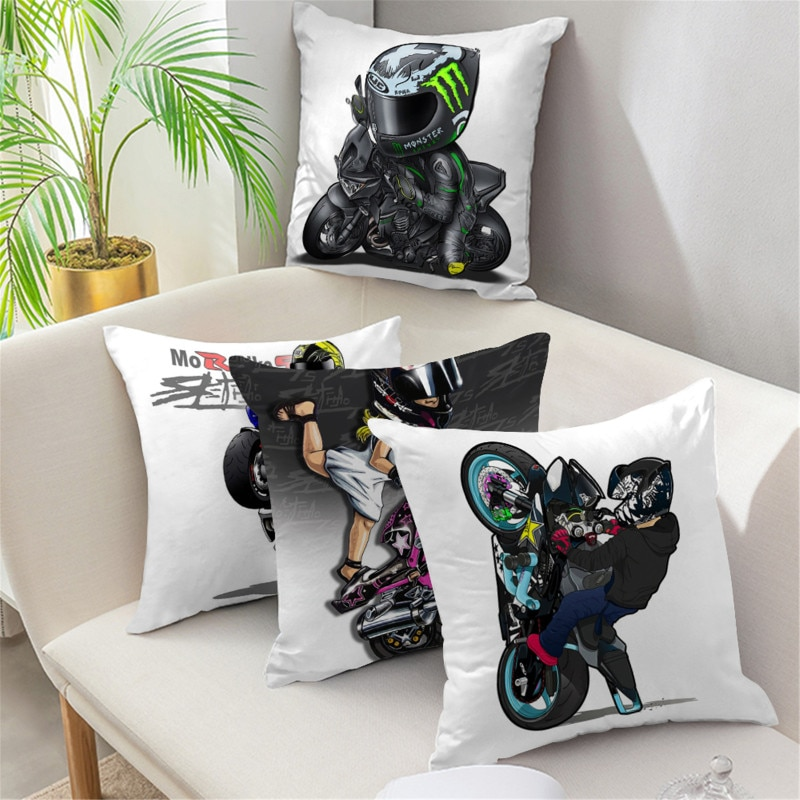 Cushion-Cove Motorcycle Pattern Style Peach Skin Cushion Cover for Bed Pillows Cases for Sofa Cover for Home Living Decoration