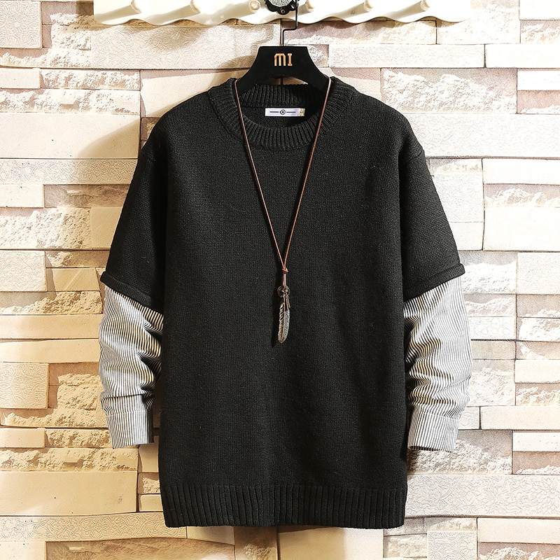 2021 New Sweaters Men'S Black Grey Long Sleeves Autumn Winter Pullover Knitted O-Neck Plus OverSize 5XL mens sweaters new classic simplicity pullover o neck sweater men long sleeves grey black teenagers sweaters