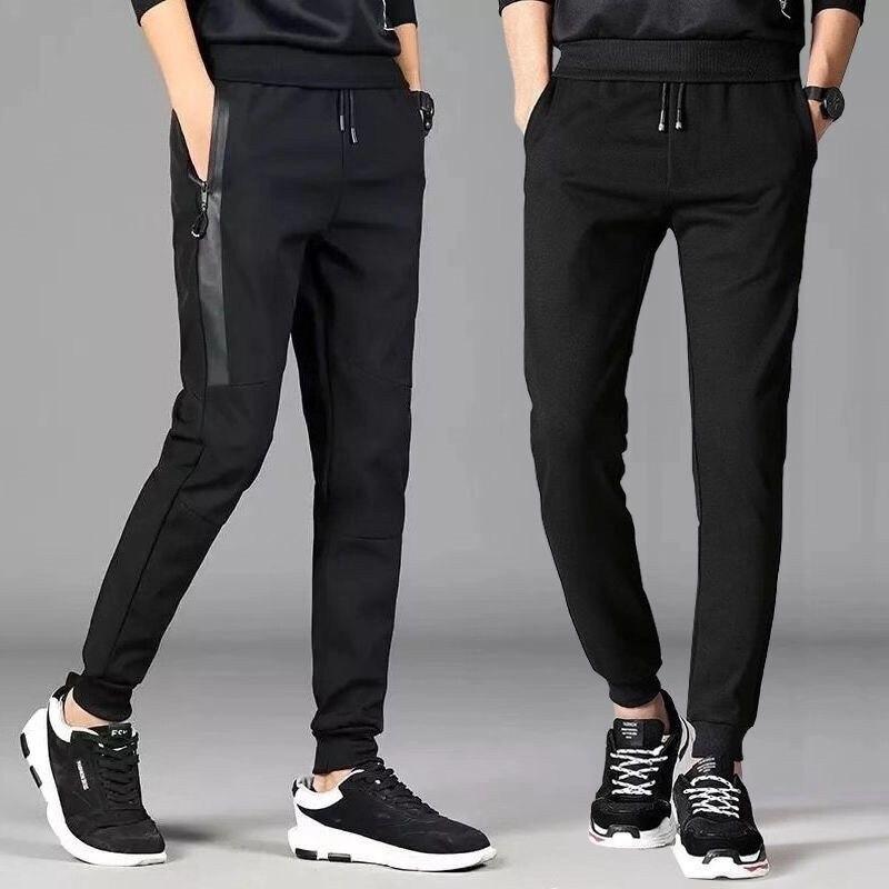 Мужские спортивные штаны на молнии, однотонные спортивные штаны из хлопка, с карманами, на зиму, 2020