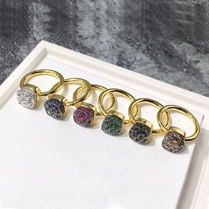 Luxury Brand Honeycomb Design Micro Colorful AAA Cubic Zirconia Square finger Ring for Women Fashion Jewelry