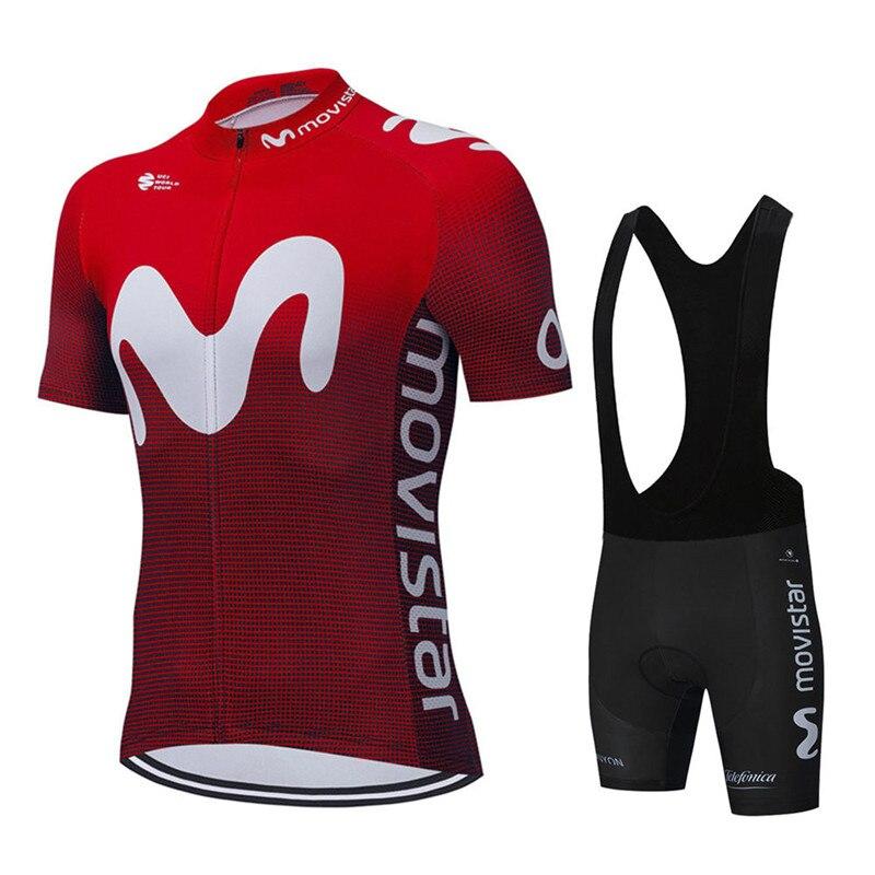 Movistar-Camiseta de manga corta de Ciclismo para hombre, pantalones cortos para bicicleta,...