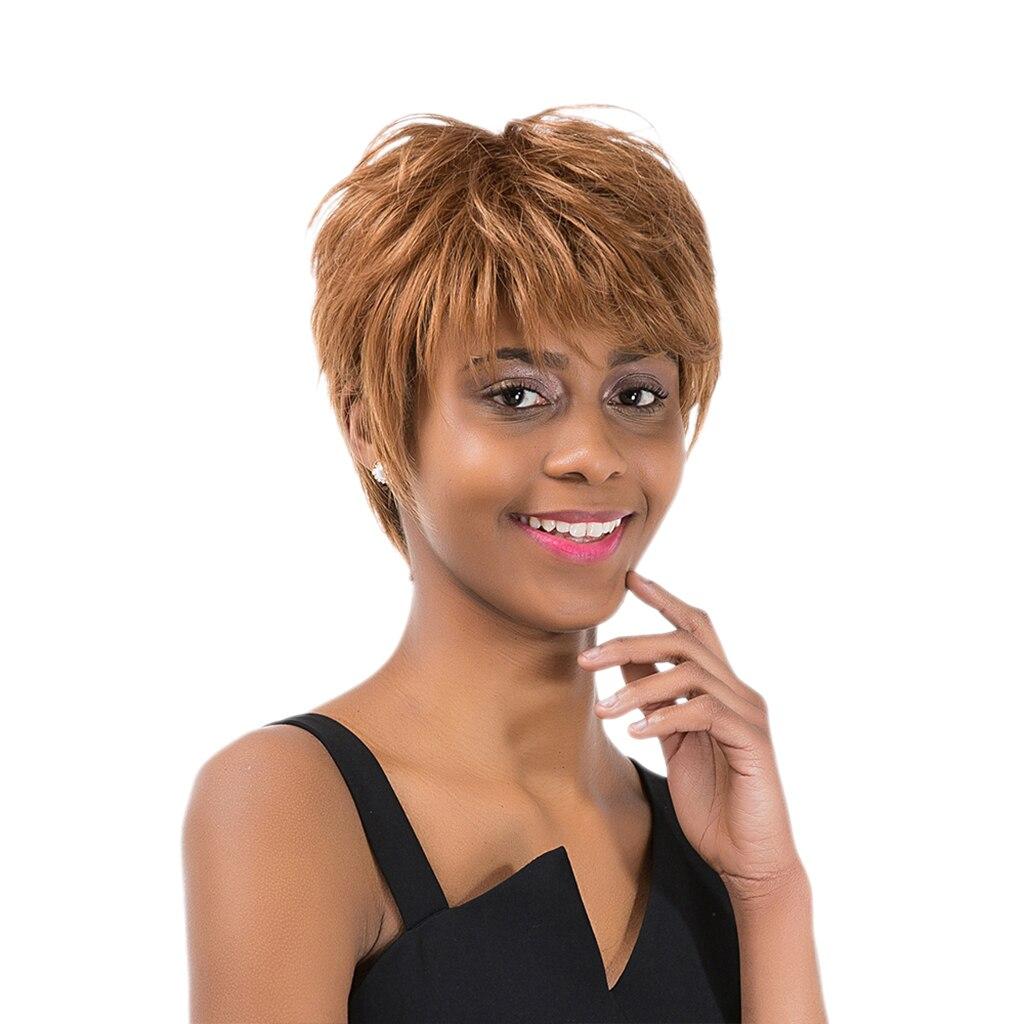 الفتيات النساء قصيرة الطبقات الطبيعية 100% خصلات الشعر المستعار الإنسان مقاومة للحرارة الذهب