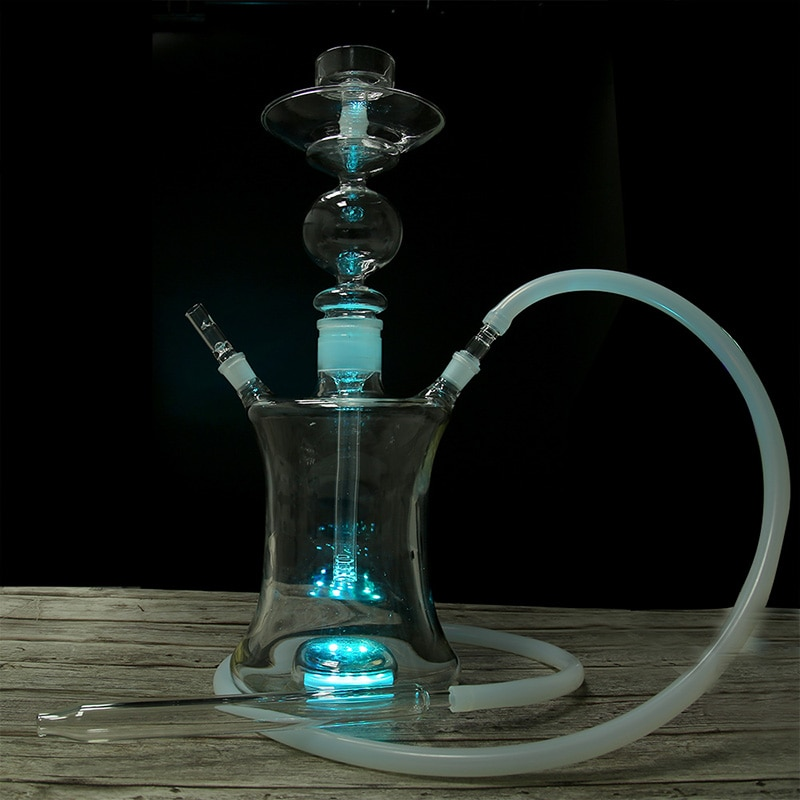 Big Glass Hookah Russian Style Complete Shisha with Led Light Funnel Tobacco Bowl Silicone Hose Chicha Narguile Accessories enlarge