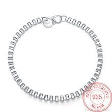 Men's Fine Jewelry 925 Sterling Silver square Box 20cm Chain cuff Bracelet&bangle Male Lucky Gift Fr