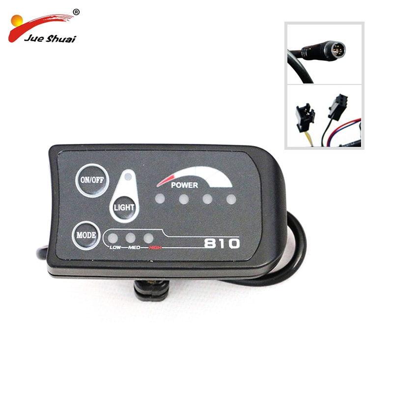 810 pantalla LED impermeable/conector Normal para bicicleta eléctrica ciclismo medidor de velocidad Control faro para bicicleta eléctrica PAS y controlador