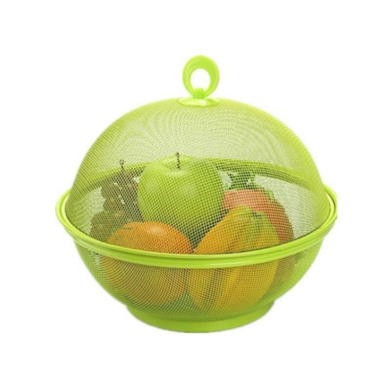 Cesta de frutas de rejilla de hierro Placa de fruta con tapa cocina lavavajillas cesta de drenaje de almacenamiento de mesa
