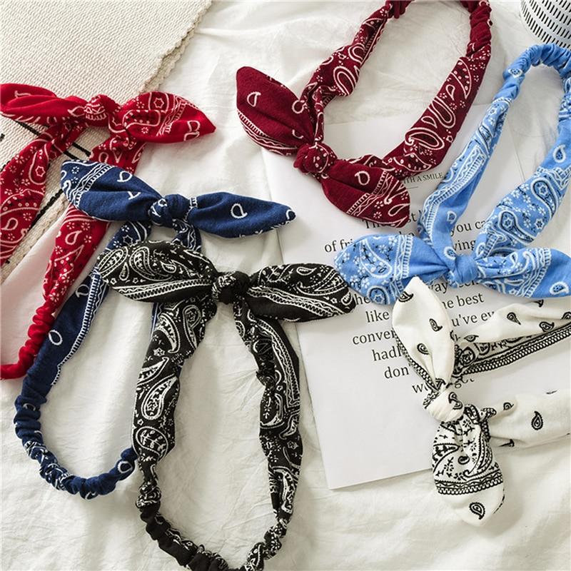 Fashion Print Women Headband Rabbit Ears Knotted Elastic Hair Bands Cross Turban Head Wrap Sweet Cute Girls Hair Accessories