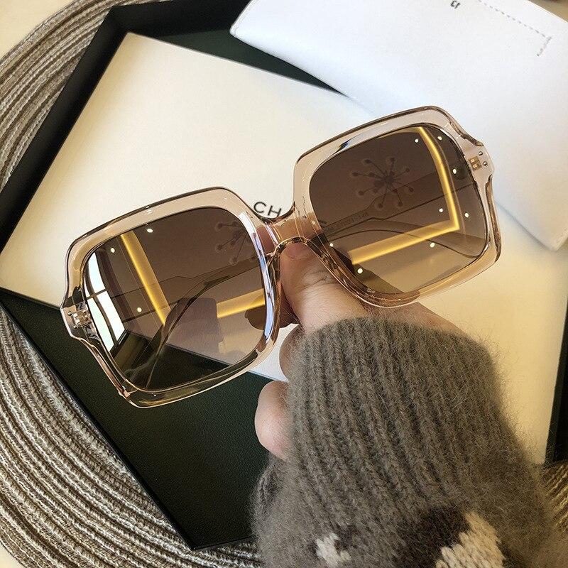 Женские солнцезащитные очки в стиле ретро, черные солнцезащитные очки в большой квадратной оправе, модные солнцезащитные очки большого раз...