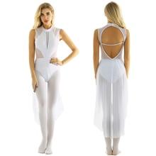 Femmes brillant strass sans manches Dancewear gymnastique justaucorps robe de Ballet Performance lyrique danse Costumes