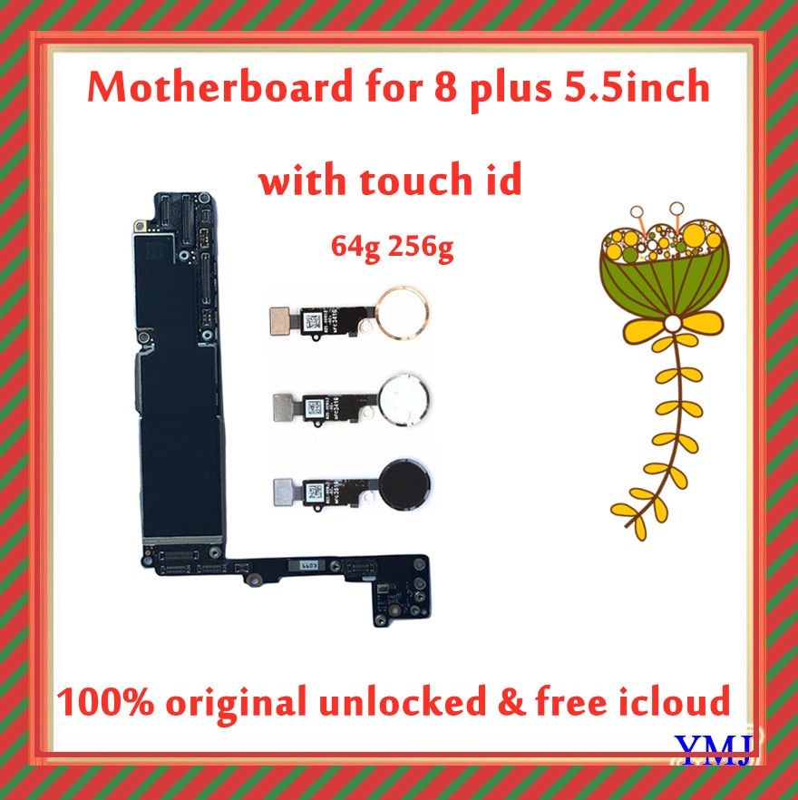 Get Factory Original unlock For Iphone 8 Plus logic board with Touch ID, 100% Tested Motherboard For iPhone 8P 64gb 256gb unlocked