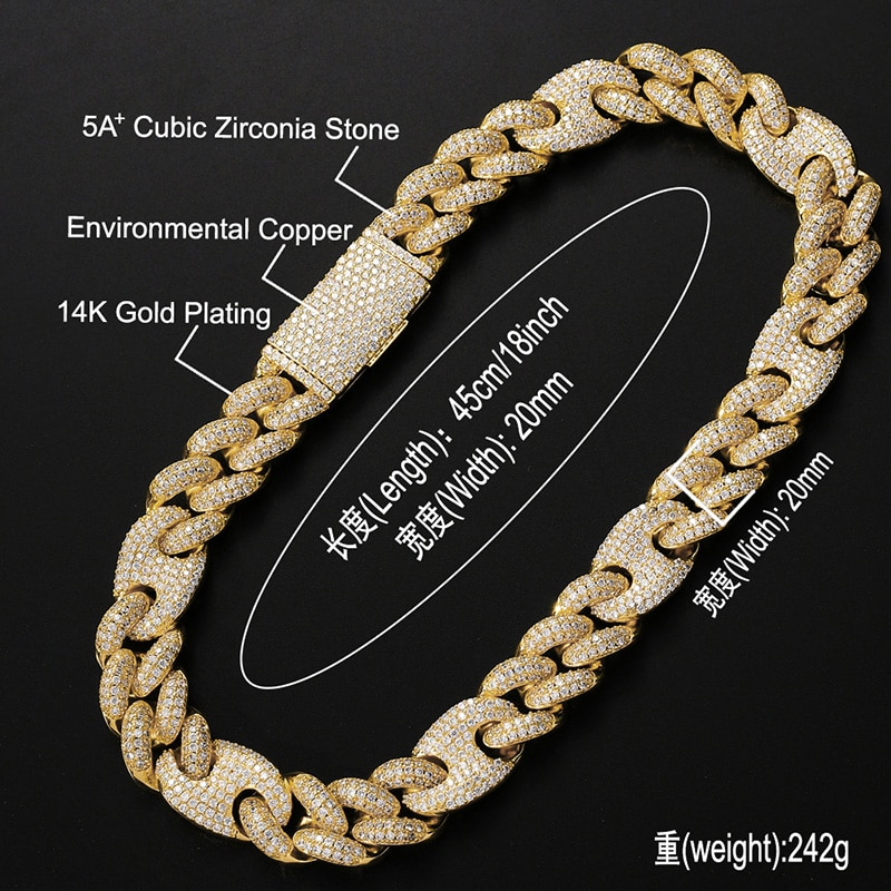 20mm Big Heavy HIP Hop Bling Iced Out Solid Coffee Bean Cuban Curb Miami Link Chain CZ Choker Necklace for Men Rapper Jewelry