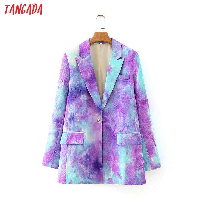 Tangada púrpura de las mujeres Tie Dye chaqueta Blazer Vintage dentada Collar manga larga 2020 moda mujer Chic suelto Tops DA131