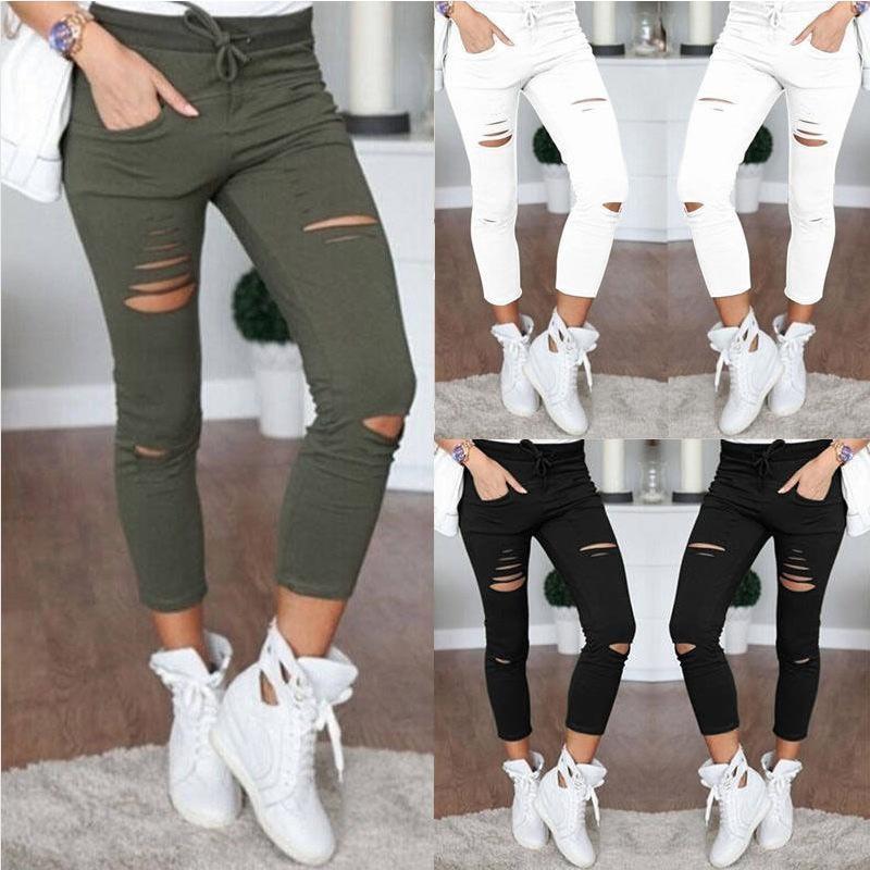 Новинка 2021, рваные джинсы для женщин, рваные брюки, Стрейчевые брюки-карандаш, леггинсы, женские джинсы