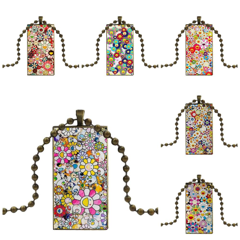 Takashi Murakami fleurs pour femmes fille cadeau Design mode Vintage verre femmes Rectangle collier pendentifs