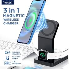 Магнитное Беспроводное зарядное устройство 3 в 1 для iPhone Magsafe 12 Mini Pro Max, Настольная Беспроводная зарядная подставка для Apple Watch 6 SE Airpods