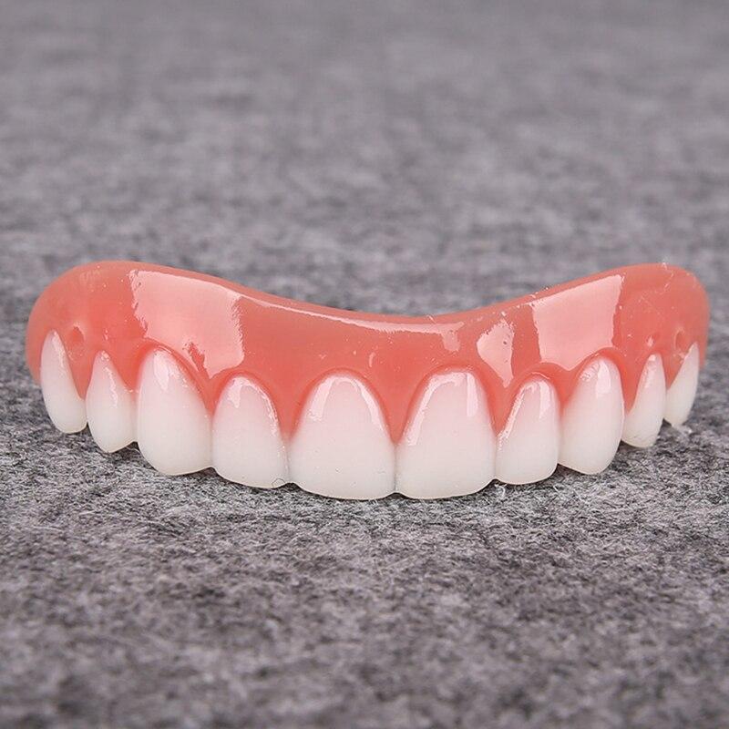 Solo blanco superior, conjunto con diseño de dientes, silicona Artificial, conjunto de prótesis