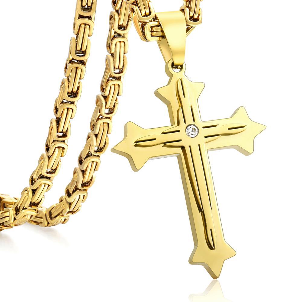 Colgante de cadena con cruz bizantina de alta calidad para hombre, collar Punk masculino de acero inoxidable dorado, regalo de joyería KP601A